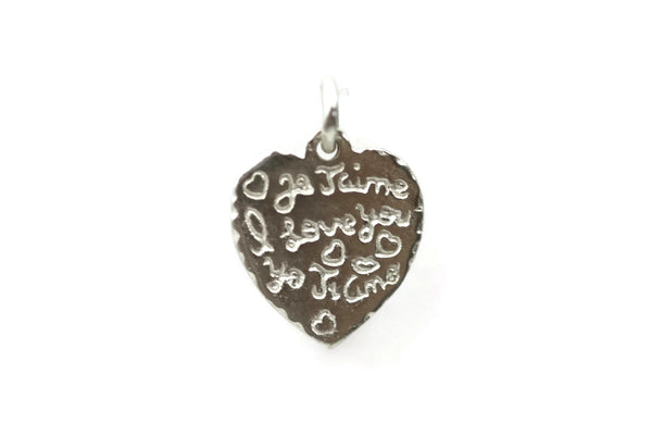 "Sterling Silver ""I love you"" Charm 13 x 11.5mm"