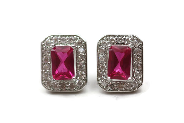 Rhodium Plated Sterling Silver Pink Cubic Zirconia Earrings