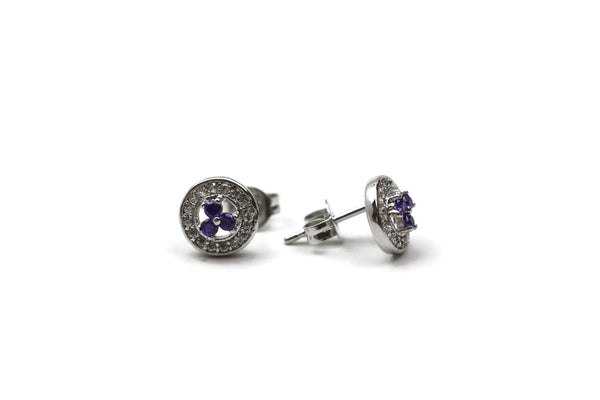 Rhodium Plated Purple Cubic Zirconia Stud Earrings
