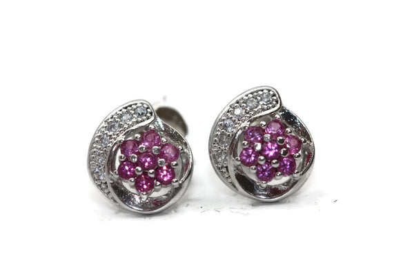 Rhodium Plated Sterling Silver Cubic Zirconia Flower Pair of Earrings