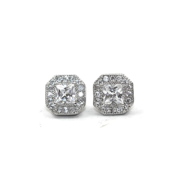 Rhodium Plated Sterling Silver Cubic Zirconia Square Stud Earrings
