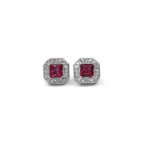 Rhodium Plated Sterling Silver Red Cubic Zirconia Square Stud Earrings