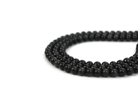 "Natural Black Obsidian Gemstone Beads 6mm 16"" strand A Grade"