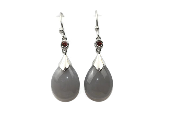 Handmade 925 Sterling Silver Moonstone and Garnet gemstones Earrings