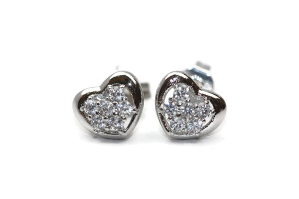Rhodium Plated Sterling Silver Cubic Zirconia Heart Stud Earrings