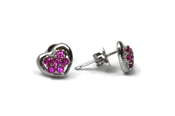 Rhodium Plated Sterling Silver Pink Cubic Zirconia Heart Stud Earrings