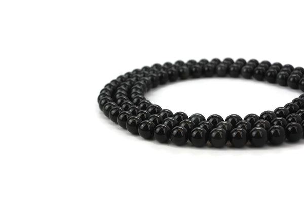 "Natural Black Obsidian Gemstone Beads 10mm 16"" strand A Grade"