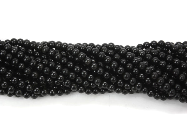 "Natural Black Obsidian Gemstone Beads 6mm 16"" strand AB Grade"