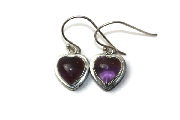 Handmade 925 Sterling Silver Heart Amethyst Earrings