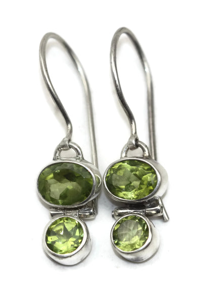 Handmade 925 Sterling Silver Two Stone Oval and Circle Faceted Peridot Earrings
