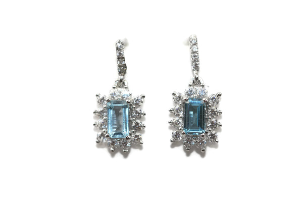 Rhodium Plated Sterling Silver Blue Square Cubic Zirconia Floral Dangle Earrings