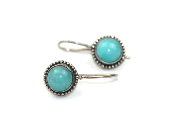 Handmade 925 Sterling Silver Amazonite Round Earrings