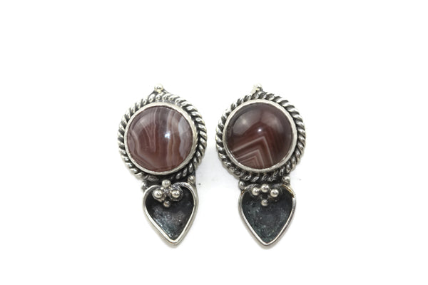 Handmade 925 Sterling Silver Striped Agate Gemstone with Antique Spade Stud Earrings