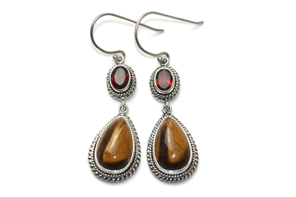 Handmade 925 Sterling Silver Teardrop Tiger's Eye & Oval Garnet Earrings