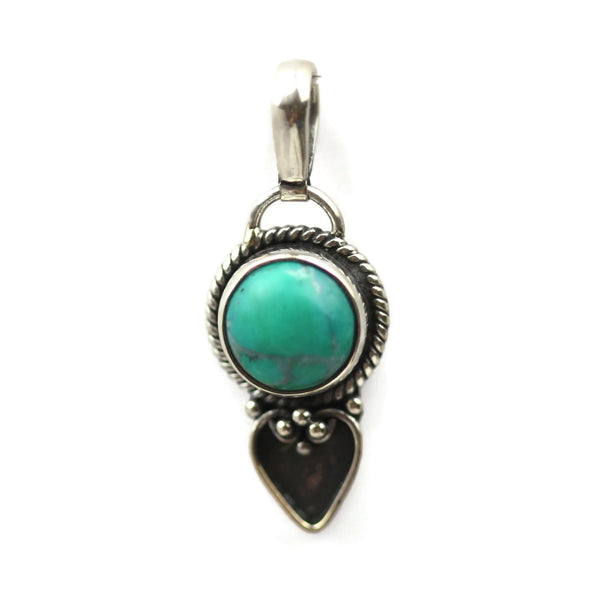 Handmade 925 Sterling Silver Turquoise Gemstone with Antique Spade Pendant