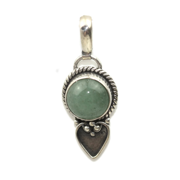 Handmade 925 Sterling Silver Green Jasper Gemstone with Antique Spade Pendant