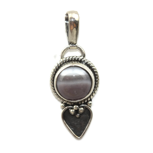 Handmade 925 Sterling Silver Striped Agate Gemstone with Antique Spade Pendant