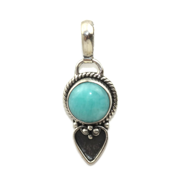 Handmade 925 Sterling Silver Amazonite Gemstone with Antique Spade Pendant