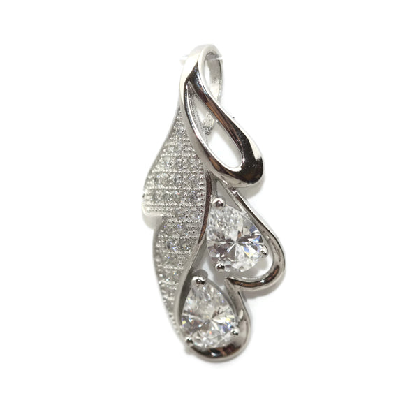 Rhodium Plated Sterling Silver Cubic Zirconia Leaf Teardrop Pendant 30 mm