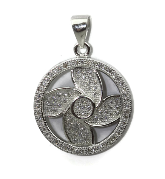 Rhodium Plated Sterling Silver Cubic Zirconia Floral Pendant