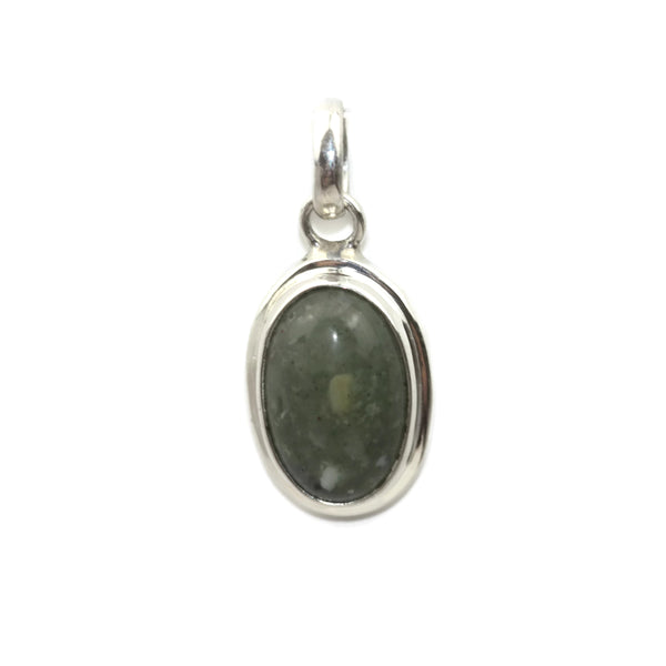 Handmade 925 Sterling Silver Oval GREY AGATE Gemstone Pendant 18 mm