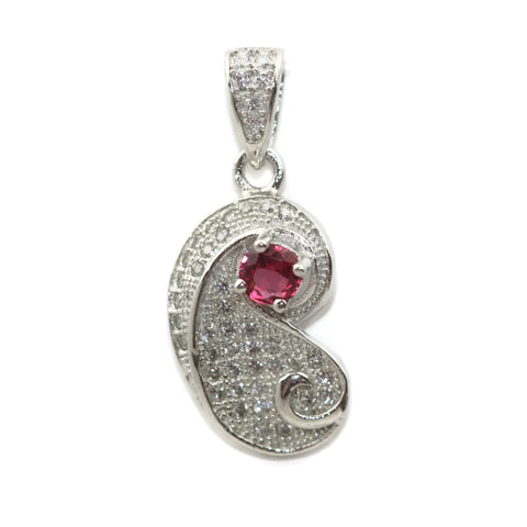 Rhodium Plated Sterling Silver Pink Cubic Zirconia Teardrop Pendant 20 mm