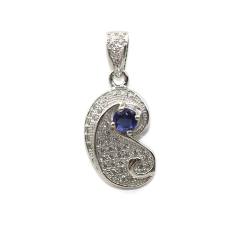 Rhodium Plated Sterling Silver Blue Cubic Zirconia Teardrop Pendant 20 mm