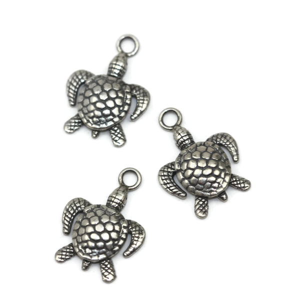 Handmade Sterling Silver Antique Turtle Charm xxx 3648