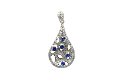 Rhodium Plated Sterling Silver Blue Cubic Zirconia Teardrop Pendant