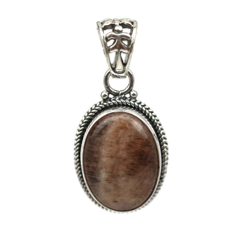 Handmade Sterling Silver Striped Agate Teardrop Pendant 26 mm