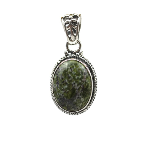 Handmade Sterling Silver Dragon Blood Jasper Teardrop Pendant 26 mm