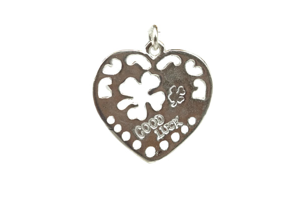 Handmade Sterling Silver 4 Leaf Clover Cut-Out Heart Pendant 22 mm