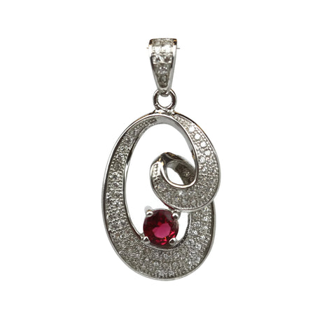 Rhodium Plated Sterling Silver Red Cubic Zirconia Pendant