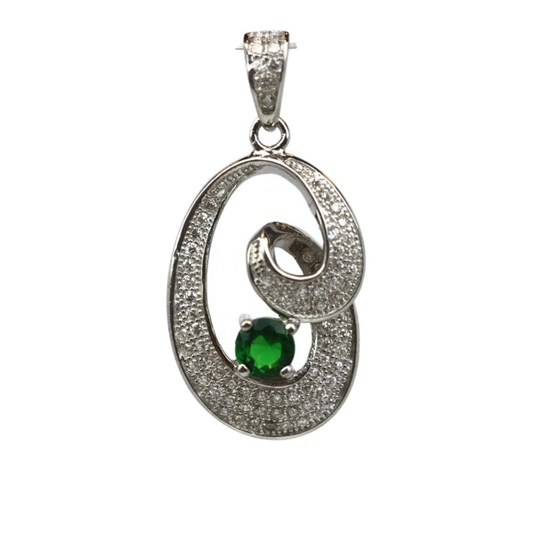 Rhodium Plated Sterling Silver Green Cubic Zirconia Pendant