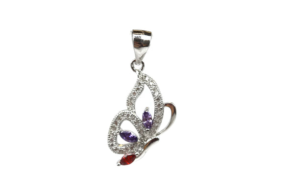 Rhodium Plated Sterling Silver Multicolored Cubic Zirconia Butterfly Pendant