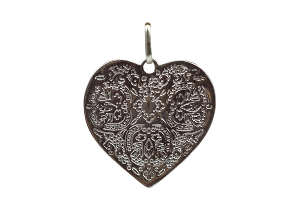 Handmade Sterling Silver Heart Pendant with engraving