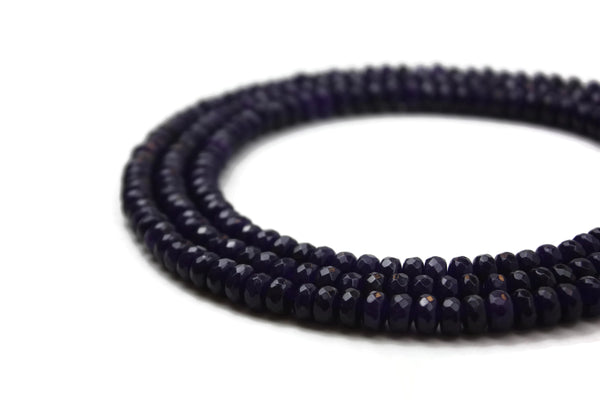 Dark Purple Jade Faceted Rondelle 8 mm