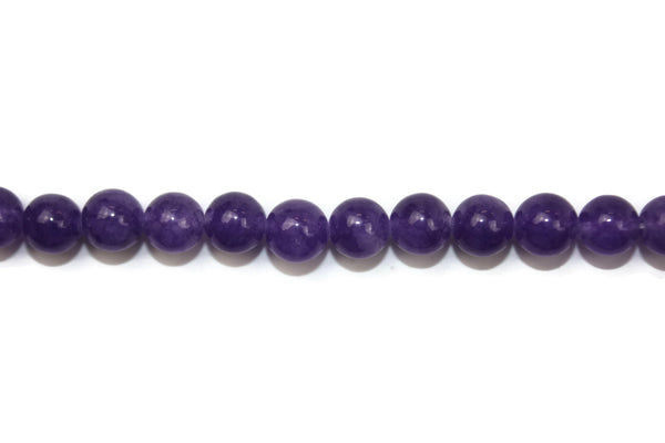"Eggplant Purple Jade Smooth Round Gemstone Beads 8mm 16"" Strand (46-48 pcs)"