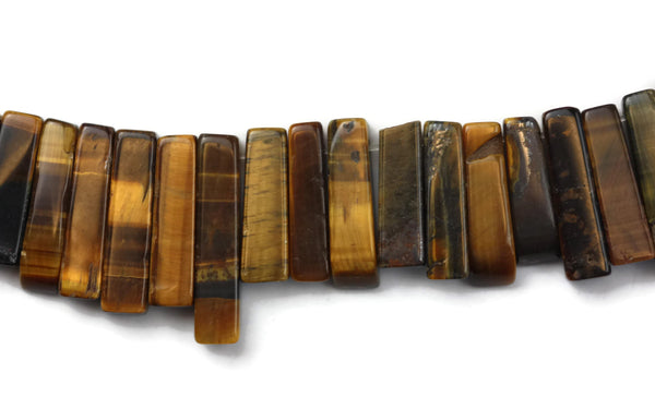"Tigers Eye Long Top Grilled Gemstone Beads Assorted Sizes 12 to 30 mm Long 16"" Strand"