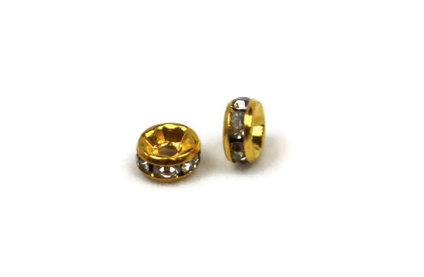 ALMA BEADS Gold Plated Round Rhinestone Spacers 6 mm 10 pcs