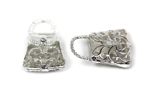 ALMA BEADS Silver Plated Purse Charms 19 mm 5 pcs