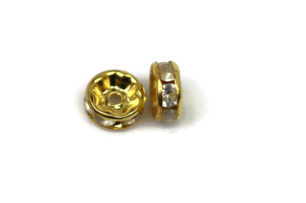 ALMA BEADS Gold Plated Round Rhinestone Spacers 8 mm 10 pcs