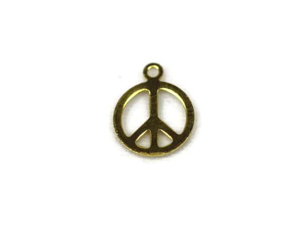 ALMA BEADS Gold Peace Charms 8mm - 100 pcs (BRASS)
