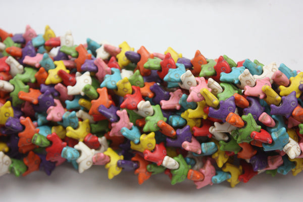 "Multicolor Howlite Dolphin Shape Gemstone Beads 14 x 22mm 15"" Strand"