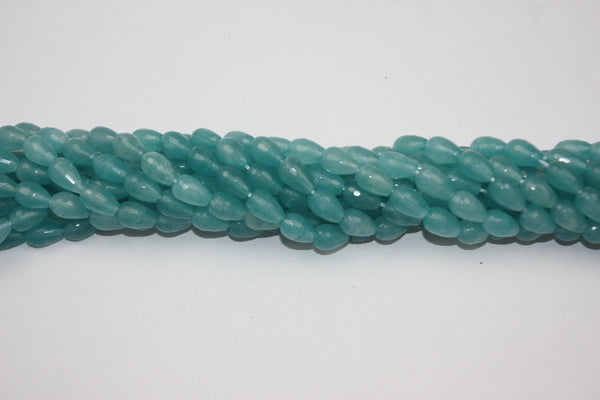 Teal Jade Faceted Teardrop Gemstone Bead 8 x 12 mm