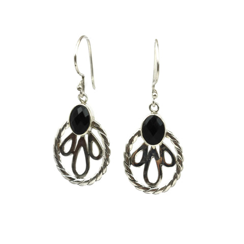 Handmade 925 Sterling Silver Black Onyx Gemstone Decorative Oval Earrings