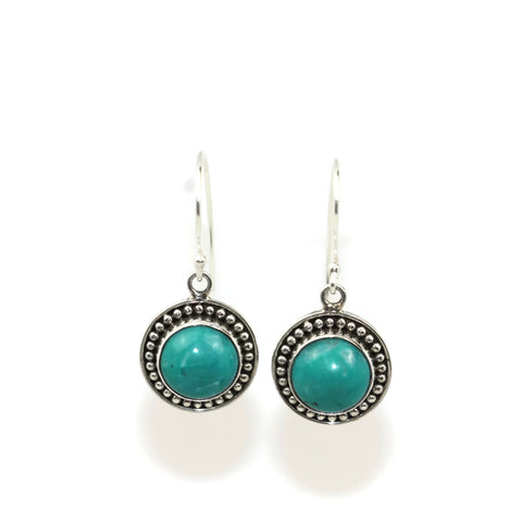 Handmade 925 Sterling Silver Amazonite Gemstone Circle Drop Earrings