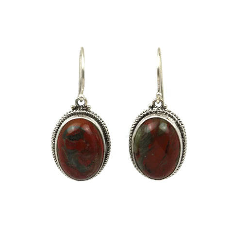 Handmade 925 Sterling Silver Cabochon Red Jasper Oval Earrings
