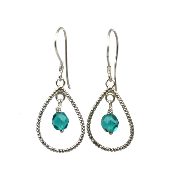 Sterling Silver Teal SCZECK GLASS Braided Teardrop Dangle Earrings