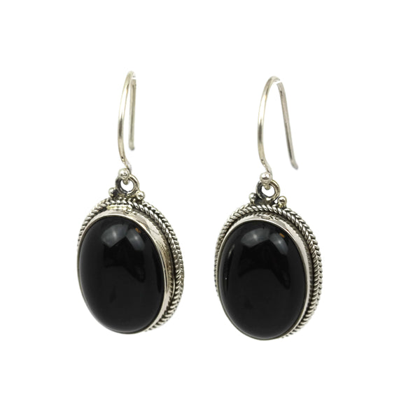 Handmade 925 Sterling Silver Black Onyx Gemstone Braided Oval Dangle Earrings